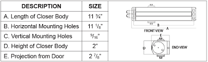 Door Closer Size Chart 900 Series Cal Royal Products Inc