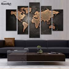 5 panel vintage world map canvas painting prints on canvas wall art picture home decoration for on interior design canvas wall art with 5 panel vintage world map canvas painting prints on canvas wall art