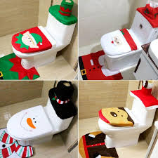xmas santa toilet seat cover rug bathroom set decoration party decoration 4 types for gift white decorations whole