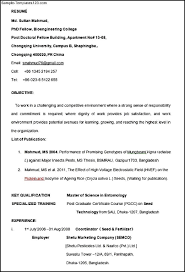 Examples Of Resumes Resume Format For College Students