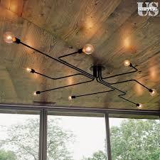 vintage industrial ceiling light chandelier iron pendant lamp fixture semi flush