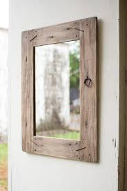 wood wall mirror. Reclaimed Wood Round Mirror Distressed Wall Long Wooden Natural Salvaged