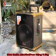Loa Kéo Karaoke Cao Cấp ISKY SKT-250 Công Suất 1000W Siêu Bass 25cm  Bluetooth 4.2 Âm Thanh 3D HIFI - Hàng Nhập Khẩu Chính Hãng - Loa kéo