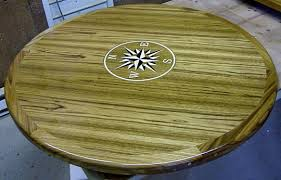 custom top e teak round table with compass rose 45 inch diameter