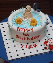 Cute First Birthday Cake With Baby In Tub And Rubber Duckiesjpg 1