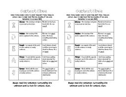 Context Clues Anchor Chart Context Clues Mini Anchor Chart