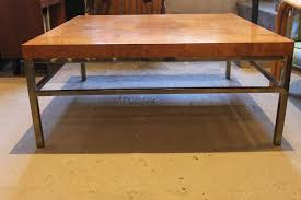 burl wood coffee table with brass base at 1stdibs natural img 1