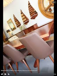 retro dining table and chairs sydney. red gum slab dining table with retro leather chair at our stanmore showroom and chairs sydney n