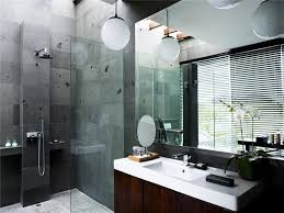 Hotel Bathroom Dsign With Rock Wall And Head Shower And Wood
