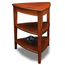 Corner Brown Polished Wooden Small Night Stands With Triangle Shelves Also  Three Legs.