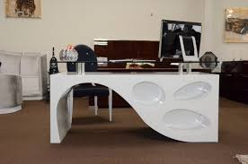 white home office desk. Furniture: Captivating And Curvy White Office Desk Furniture Topped With Glass Table - Amazon Home