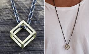 gold geometric cube necklace cool necklaces for guys