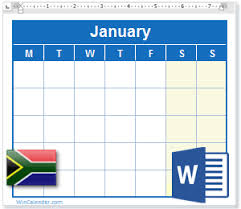 2020 Calendar With South Africa Holidays Ms Word Download