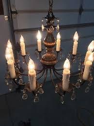 vtg antique beautiful spanish brass carson 10 light 10 arm crystals chandelier