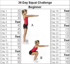 7 Day Squat Challenge Chart Fitness Challenge 30 Day Squat Challenge Eunicakes