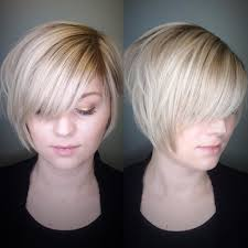 Stacked Bob Hair Style womens polished blonde stacked bob with side swept bangs and soft 6284 by wearticles.com