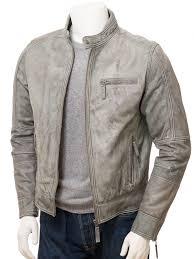 men s grey leather biker jacket bodmiscombe front