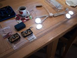 ikea dioder 12v ultraslim led lights being tested before being removed from their