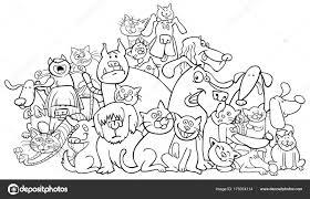 Cartoon Honden En Katten Kleurplaten Boek Stockvector Izakowski