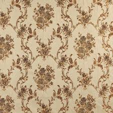 Floral Brocade A0014e Beige Gold Brown And Ivory Floral Brocade Upholstery Fabric By The Yard