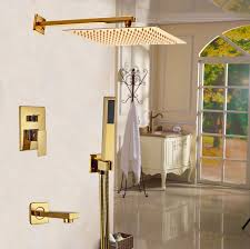 golden bathroom shower column faucet wall: wall mounted  in shower units golden polish bath shower faucet  ways outlet