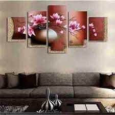 <b>5 Panel</b> Vintage Flower <b>Canvas</b> Painting <b>Wall Pictures</b> for Living Room
