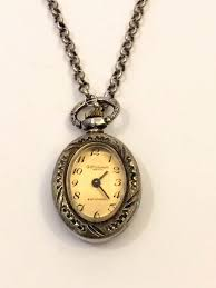 vintage silver enamelled necklace pendant watch around 1940