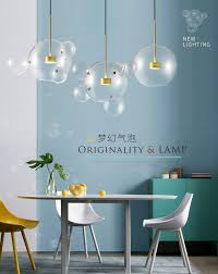 Post Modern Bolle Led Pendant Light Clear Glass Soap Bubble Ball
