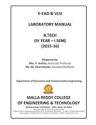 Vlsi Design Lab Manual For Ece Ecad Lab Manual Manualzz Com