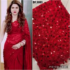 Red Net Dress Design Red Soft Net Sequins Embroidered Party Wear Latest Saree Design