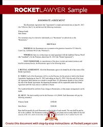 Sample Roommate Contract Roommate Contract Room Rental Agreement Rocket Lawyer