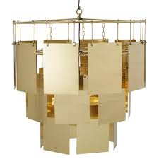 kelly hoppen marilyn modern classic cascading brass sheets tiered chandelier kathy kuo home