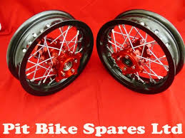 pit bike cnc red hubs wide black alloy rims 2 15 10 supermoto