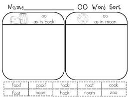 The activities can be used in kindergarten or 1st grade or for remedial work in other grades. Words With Oo Oo Words Word Family Sort Word Sort Activities