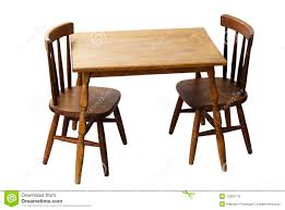 children s child wood table and chairs isolated