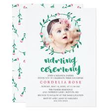 Rosebud Wreath Pink Green Naming Ceremony Invitation