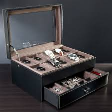 8 carbon fiber watch box storage drawer watchboxco com treviso leather valet box and ten watch display case engravable