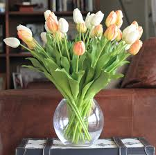 buy this luxury lifelike and realistic artificial orange white tulip bouquet silk flower is available flowers that look like tulips i40