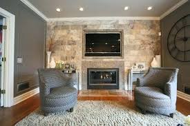 stone wall with fireplace and tile living room embedded contemporary mount stacked tv