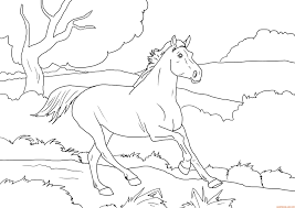 Coloriage Cheval Au Galop Gratuit Imprimer
