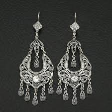 cubic zirconia earrings filigree style 925 sterling silver greek handmade art rare