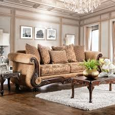 traditional sofas with wood trim wonderful ersa chenille fabric gold bronze sofa by decorating ideas