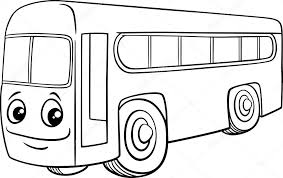 black and white cartoon ilration of bus vehicle character for coloring book vector by izakowski