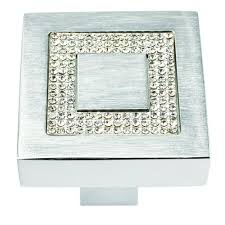 crystal furniture knobs. Atlas Homewares Boutique 1-3/8 In. Crystal And Brushed Aluminum Square Cabinet Furniture Knobs D