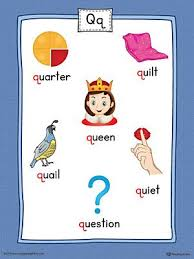 Q Chart Printable Letter Q Word List With Illustrations Printable Poster