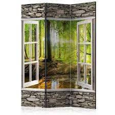 Murando Raumteiler Fensterblick Fenster Landschaft Foto Paravent
