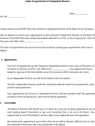 Letter Of Recommendation For Appointment To Board Letter Of Appointment Of Independent Director Hearty