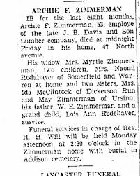 Archie Zimmerman brother of Grandma Obit. - Newspapers.com