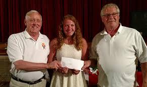 l to r br bob mcdowell koc scholarship chair paige hammond recipient and br wayne phillips koc grand knight