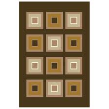 donnieann 6x9 retro area rug chocolate large square pattern